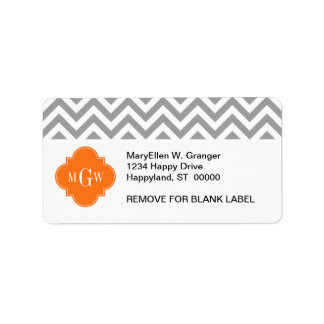 Dk Gray Lg Chevron Pumpkin Quatrefoil 3 Monogram Address Label