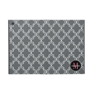 Dk Gray Pink White Moroccan Quatrefoil Monogram iPad Mini Case