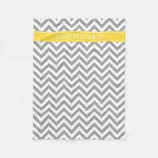 Dk Gray White LG Chevron Pineapple Name Monogram Fleece Blanket