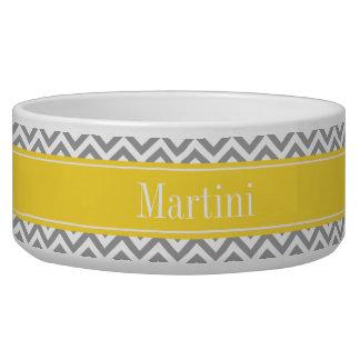 Dk Gray White LG Chevron Pineapple Name Monogram Pet Water Bowls