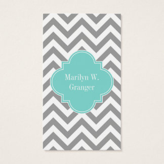 Dk Gray White LG Chevron Turquoise Name Monogram Business Card