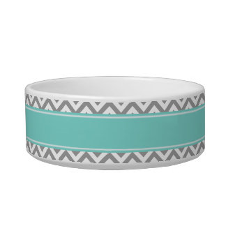 Dk Gray White LG Chevron Turquoise Name Monogram Cat Bowl