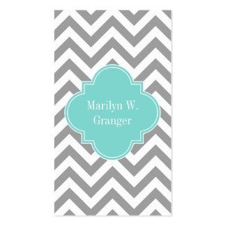 Dk Gray White LG Chevron Turquoise Name Monogram Pack Of Standard Business Cards