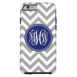 Dk Gray Wht LG Chevron Navy Vine Script Monogram Tough iPhone 6 Case