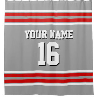 Dk Gray with Red White Stripes Sports Jersey Shower Curtain