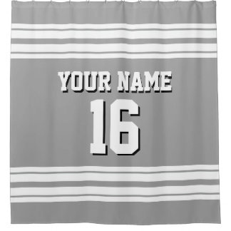 Dk Gray with White Stripes Sports Jersey Shower Curtain