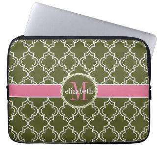 Dk Olive Pink White Moroccan Quatrefoil Monogram Laptop Sleeve