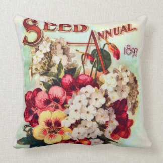 DM Ferry Flower Seeds Vintage Advertisement Cushion
