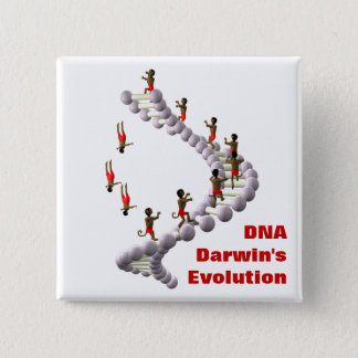 DNA Darwin's Evolution 15 Cm Square Badge