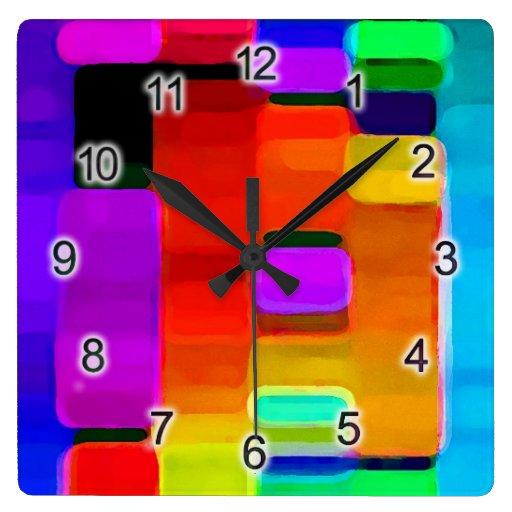 DNA of Color Square Wallclocks