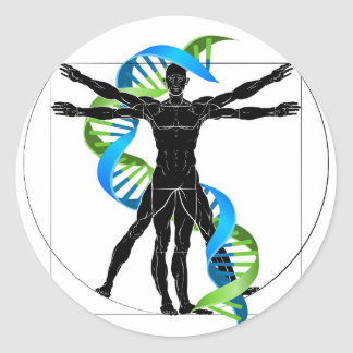DNA Vitruvian Man Classic Round Sticker