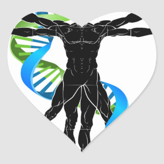 DNA Vitruvian Man Heart Sticker