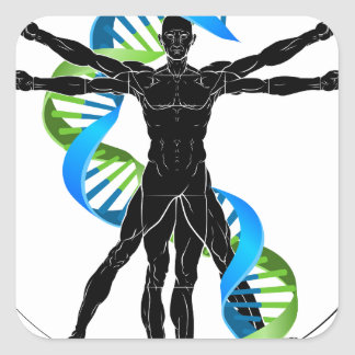 DNA Vitruvian Man Square Sticker