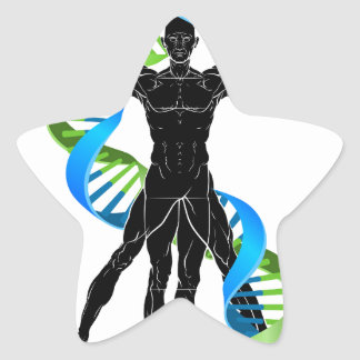 DNA Vitruvian Man Star Sticker