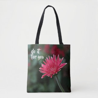 do it for you; pink gerbera daisy, floral tote bag