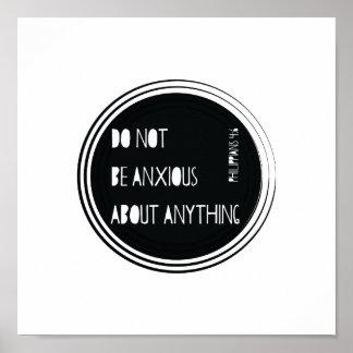 """Do Not Be Anxious"" Philippians Bible Verse Poster"