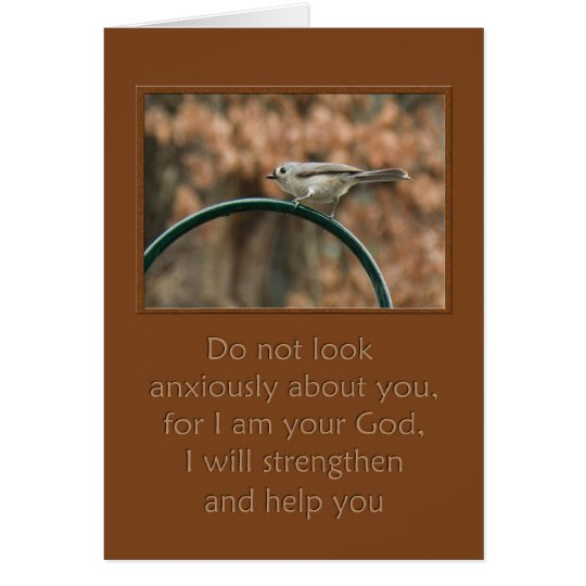 do not look anxiously about you bird on arch card