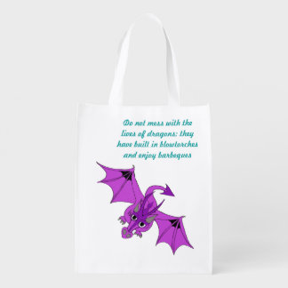 do not mess with dragons reusable grocery bag