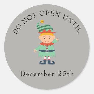 Do not open elf classic round sticker