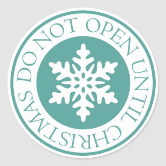 Do Not Open Until Christmas Snowflake Blue Green Round Sticker