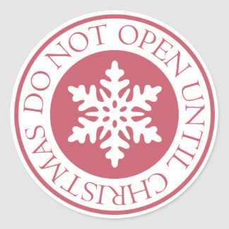 Do Not Open Until Christmas Snowflake Red Classic Round Sticker
