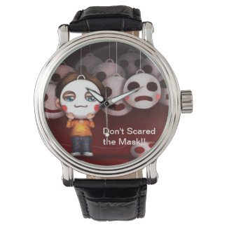 Do not scared the Mask Vintage Leather Watch