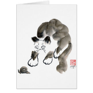 Do Snails Sting? Sumi-e kitten and snail Card
