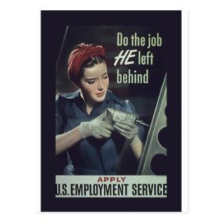 Do The Job He Left Behind ~ WW II Poster 1942-1945 Postcard