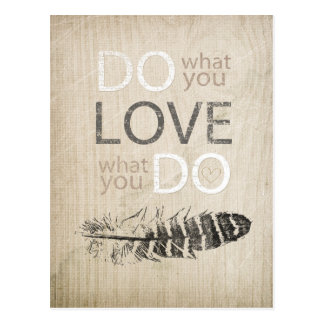 Do What You Love | Feather and inspirational Post Cards