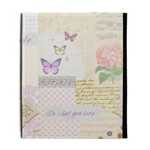 Do what you love - Girly Pink & Cream collage iPad Folio Cover