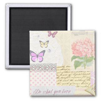 Do what you love - Girly Pink & Cream collage Magnet