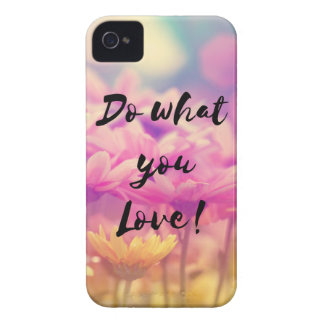 """""""Do what you Love"""" Typography Quote Purple Flowers iPhone 4 Case-Mate Case"""