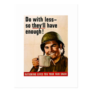 Do With Less Vintage WWII Rationing Postcard