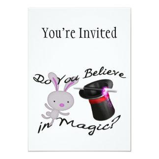Do You Believe In Magic Top Hat & Rabbit 13 Cm X 18 Cm Invitation Card