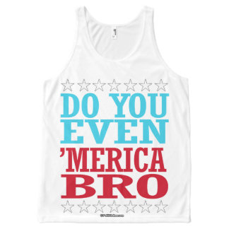 Do you Even 'Merica Bro - Patriotic Stars - - Poli All-Over Print Singlet