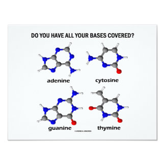Do You Have All Your Bases Covered? (DNA Bases) 11 Cm X 14 Cm Invitation Card