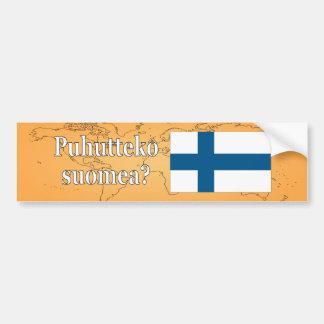 Do you speak Finnish? in Finnish. Flag wf Bumper Sticker