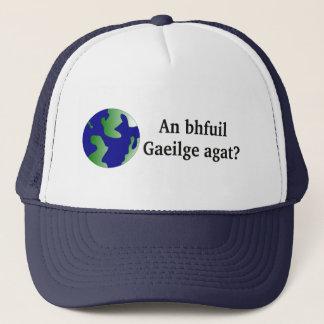 Do you speak Irish? in Irish. With globe Trucker Hat