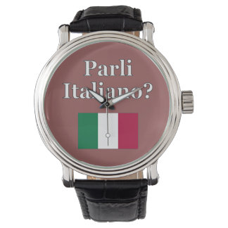Do you speak Italian? in Italian. Flag Watch