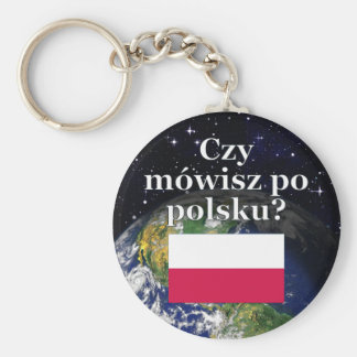 Do you speak Polish? in Polish. Flag & Earth Key Ring