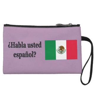 Do you speak Spanish? in Spanish. Flag bf Wristlet Purse