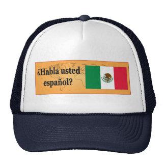 Do you speak Spanish? in Spanish. Flag bf Cap