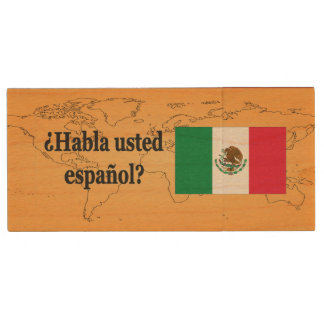 Do you speak Spanish? in Spanish. Flag bf Wood USB 2.0 Flash Drive