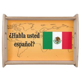 Do you speak Spanish? in Spanish. Flag bf Service Tray