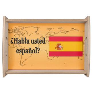 Do you speak Spanish? in Spanish. Flag bf Food Trays