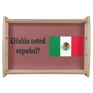 Do you speak Spanish? in Spanish. Flag bf Service Trays