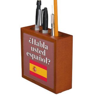 Do you speak Spanish? in Spanish. Flag Desk Organiser