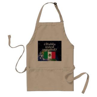 Do you speak Spanish? in Spanish. Flag & Earth Adult Apron