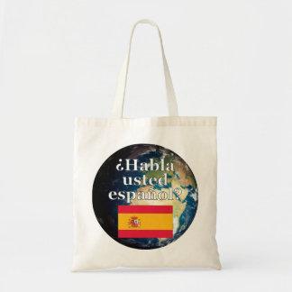 Do you speak Spanish? in Spanish. Flag & Earth Canvas Bags
