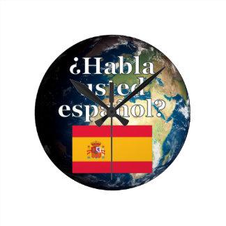 Do you speak Spanish? in Spanish. Flag & Earth Wallclock